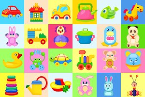 Childrens Toys Big Colorful Illustrations Set