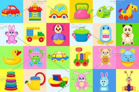 Childrens Toys Big Colorful Illustrations Set in Illustrations