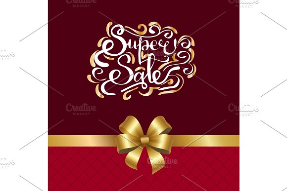Super Sale Inscription with Golden Curved Elements in Illustrations