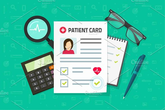 Patient card & Medical Research in Illustrations