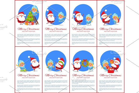 Merry Christmas Poster, Text Vector Illustration
