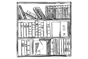 Books background. Book shelves sketch. Vector illustration.