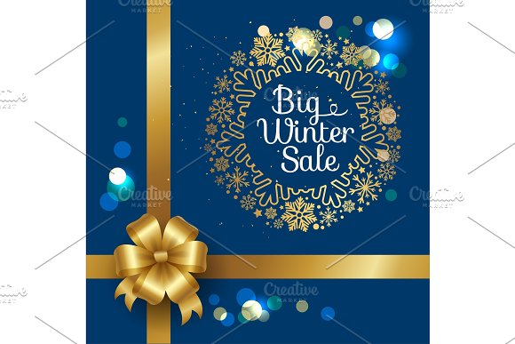 Winter Sale Poster in Frame Made of Snowflakes