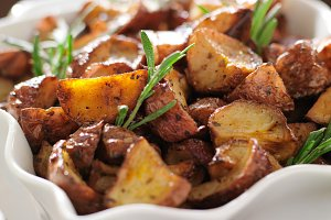 rosemary herb potatoes close up