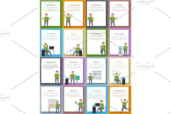 Success and Business Related Collection of Posters in Illustrations