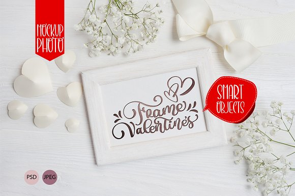Valentine`s wooden frame mock up