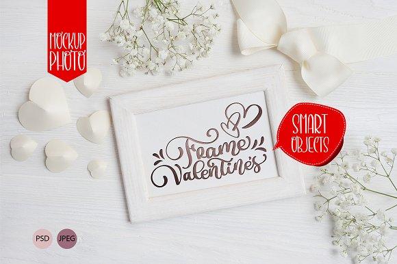 Valentine`s wooden frame mock up in Print Mockups