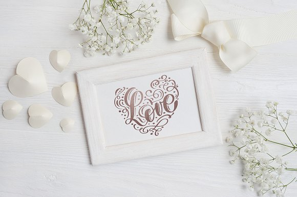 Valentine`s wooden frame mock up in Print Mockups - product preview 4