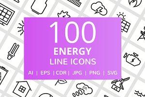 100 Energy Line Icons