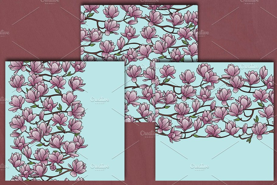 Spring Seamless Set in Product Mockups