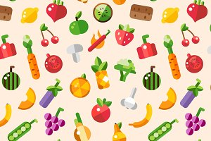 Flat Design Healthy Food Pattern