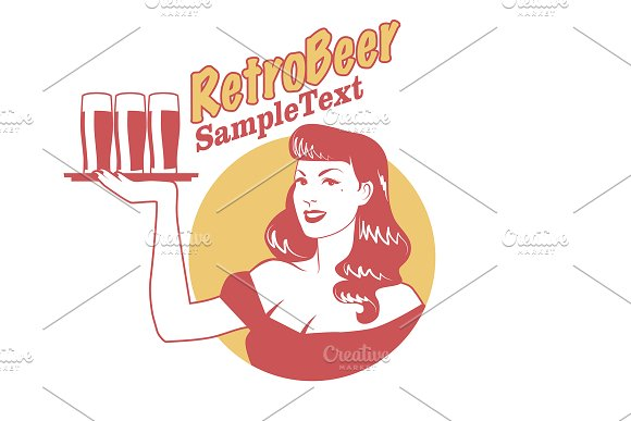 Pinup girl carrying beer I