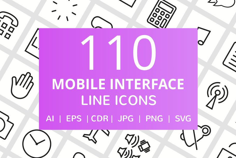 111 Mobile Interface Line Icons