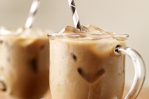 iced coffee with paper straws