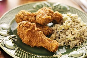 fried chicken and quinoa