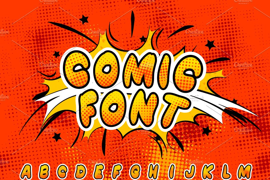 Colorful comics font with halftone