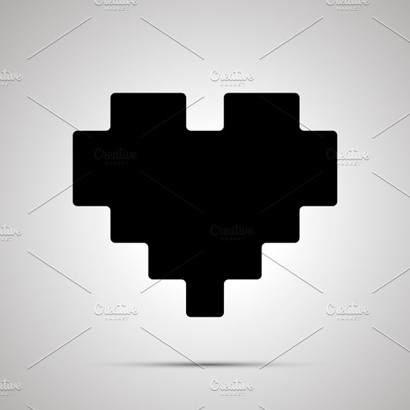 Pixel heart simple black icon
