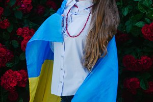 Girl with a flag of ukraine