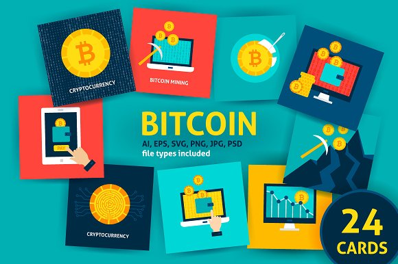 Cryptocurrency Bitcoin Concepts in Illustrations