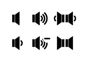 Set of black icons of sound volume