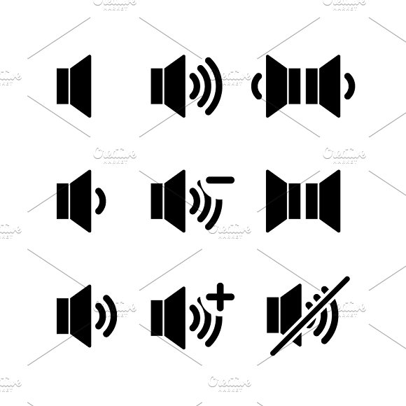 Set of black icons of sound volume