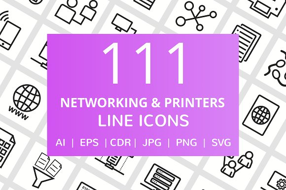 111 Networking & Printers Line Icons in Graphics