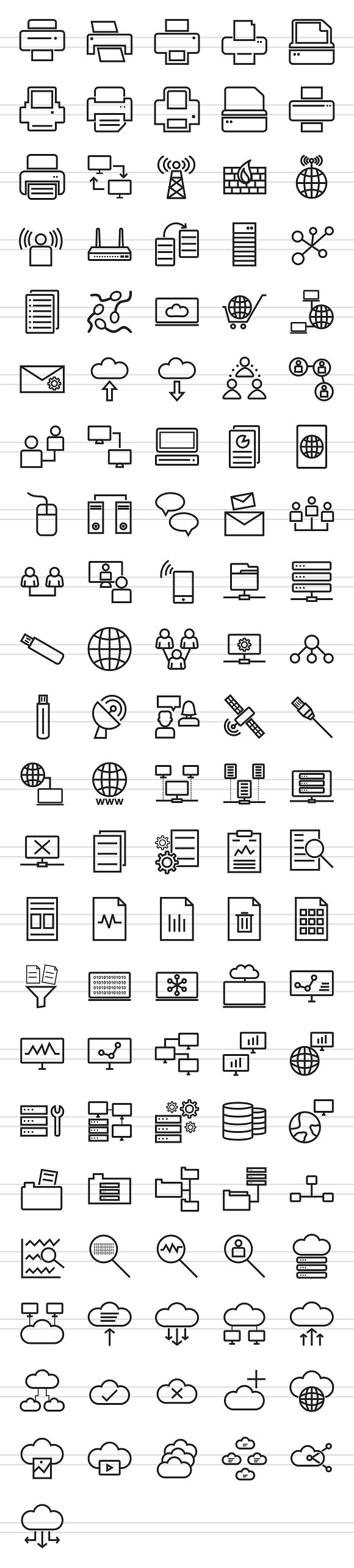 111 Networking & Printers Line Icons in Graphics - product preview 1
