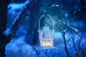 Decorative white Christmas lantern