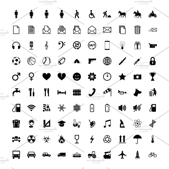 Large set of different simple icons