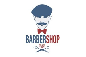 Retro style barber shop emblem