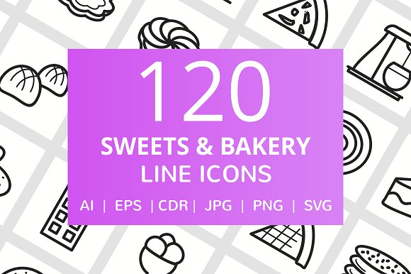 120 Sweets & Bakery Line Icons in Graphics