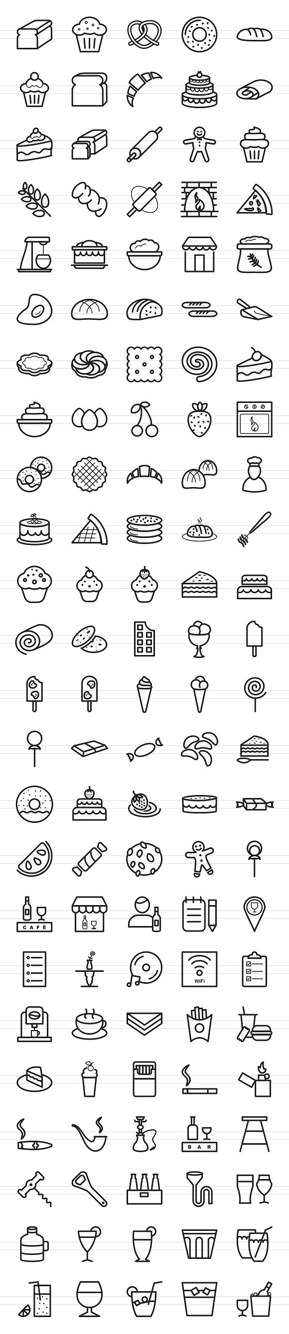 120 Sweets & Bakery Line Icons in Graphics - product preview 1