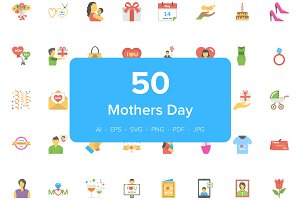 50 Mothers Day Flat Vector Icons