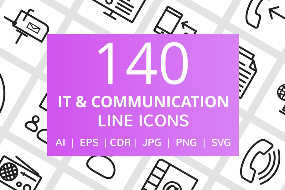 140 IT & Communication Line Icons in Icons