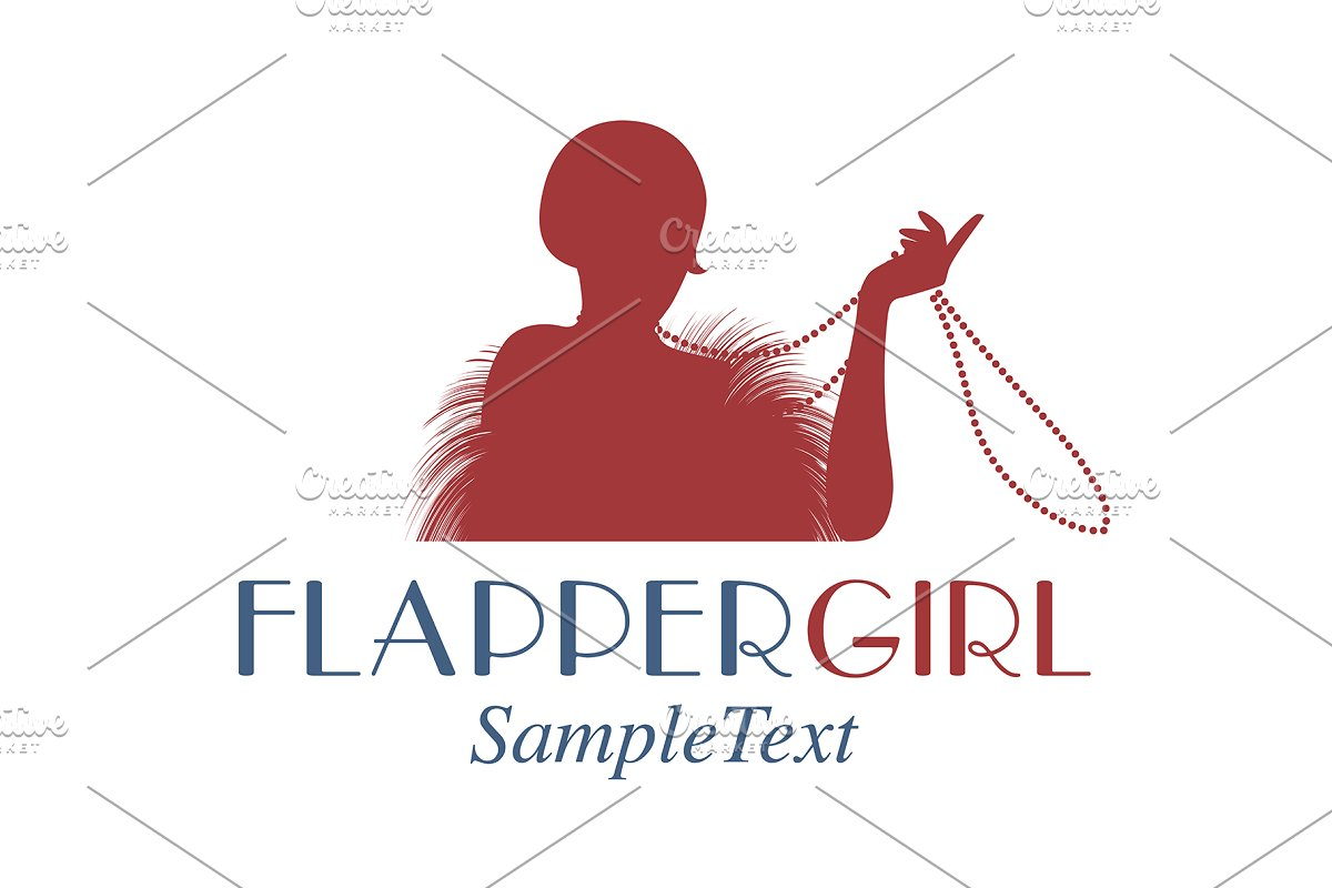 Flapper playing with necklace in Illustrations
