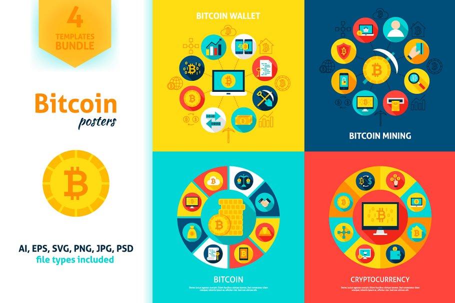 Bitcoin Vector Concepts in Illustrations