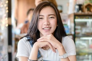 Young asian girl smile