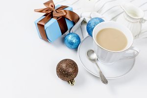 cup of coffee and gifts for breakfas