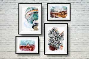 Wall Art Prints,Set of 4 Prints. Pai