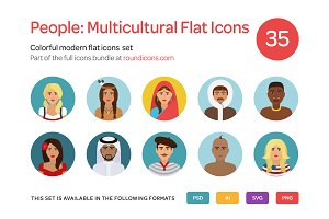People: Multicultural Flat Icons