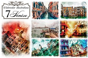 Watercolor illustrations Venice