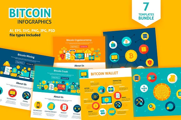 Bitcoin Infographics & Web Design in Illustrations