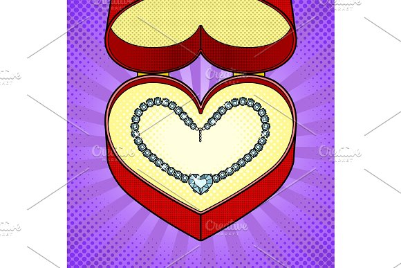 Diamond necklace heart in gift box pop art vector
