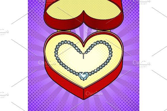Diamond necklace heart in gift box pop art vector in Objects