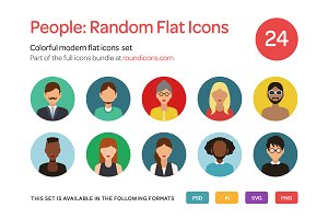 People: Random Flat Icons Set