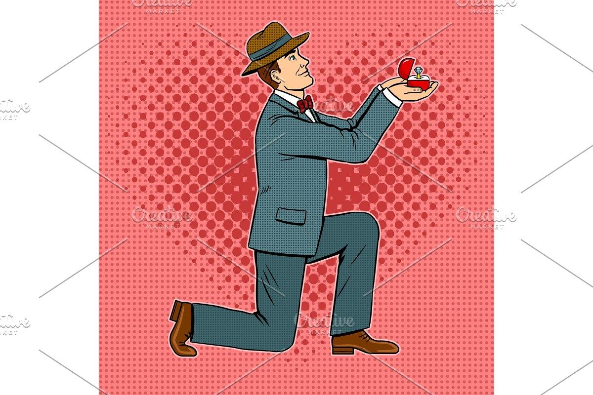 Marriage proposal pop art vector illustration in Illustrations