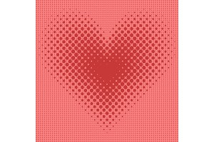Heart halftone background vector illustration