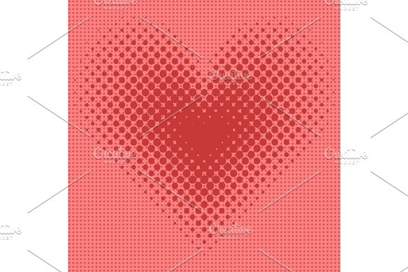 Heart halftone background vector illustration