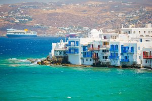 Amazing view of Little Venice the most popular attraction in Mykonos Island Greece