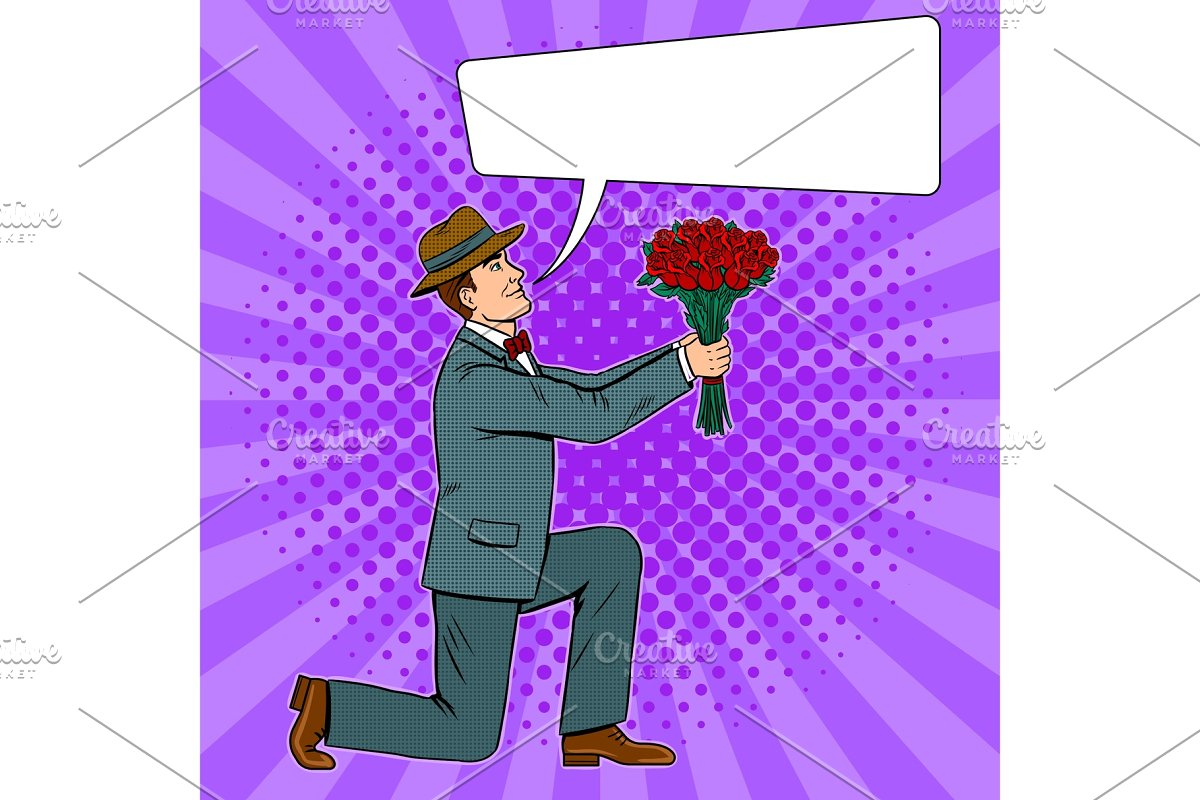 Man gives flowers bouquet pop art vector